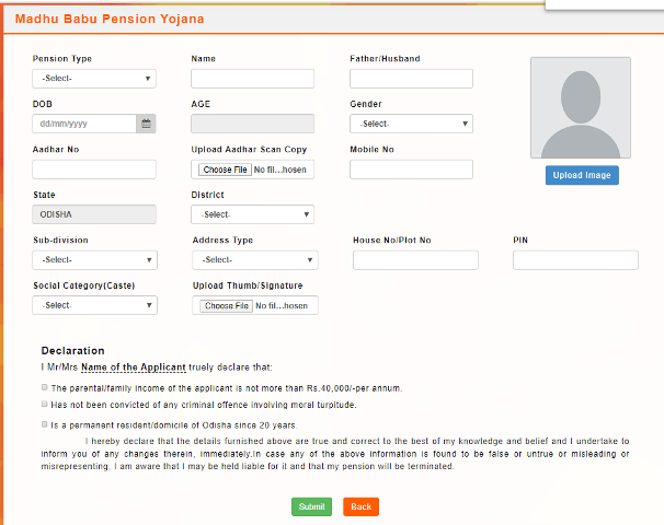 Application Form Madhu Babu Pension Yojana