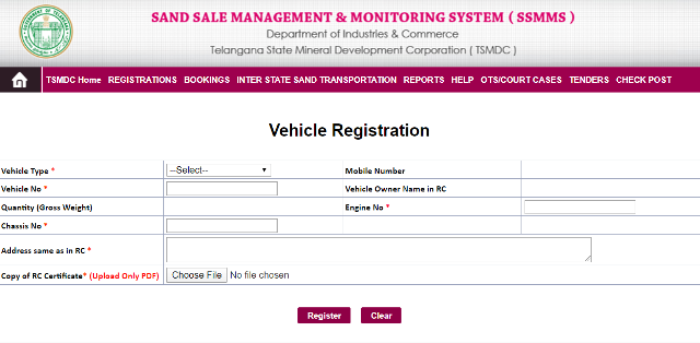 Register A Vehicle at SSMMS Telangana