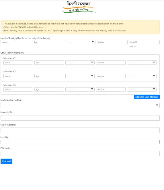 Delhi ration card application form