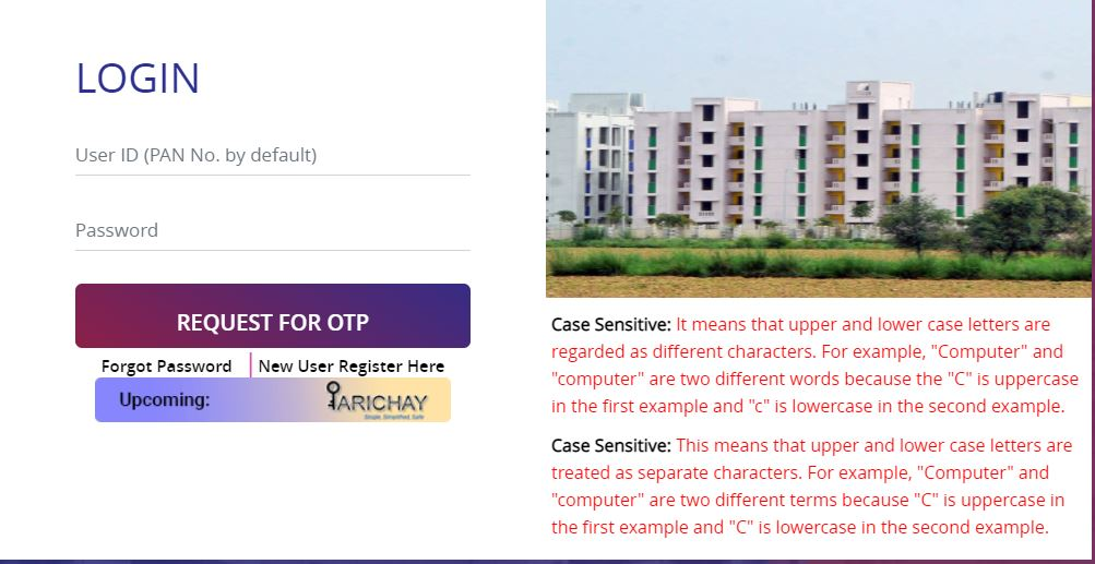DDA Housing Scheme Login