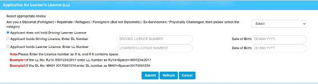 Apply for Learner Licence