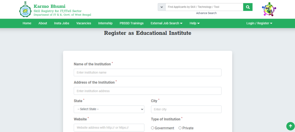 Register As An Institution